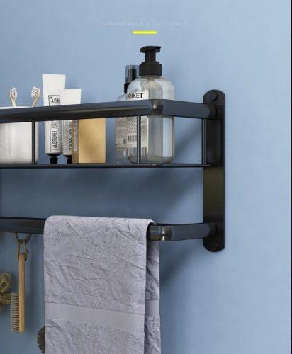 Maravilloso estante de baño con barra para toalla